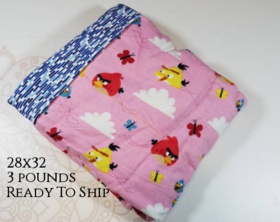Bird, 3 Pound, WEIGHTED BLANKET, 3 pounds, 28x32, for Autism, Sensory, ADHD, Calming, Anxiety, ptsd blanket