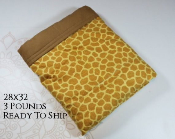 Giraffe, 3 pound, WEIGHTED BLANKET, Ready To Ship, 3 pounds, 28x32, for Autism, Sensory, ADHD, Calming, Anxiety,