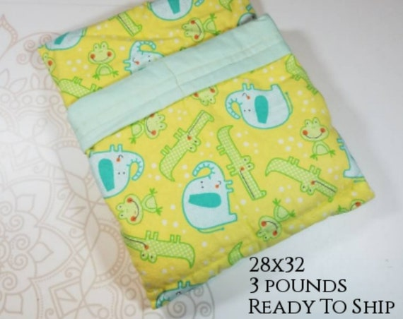 Elephant, Aligator, 3 Pound, WEIGHTED BLANKET, Ready To Ship, 3 pounds, 28x32, for Autism, Sensory, ADHD, Calming, Anxiety,