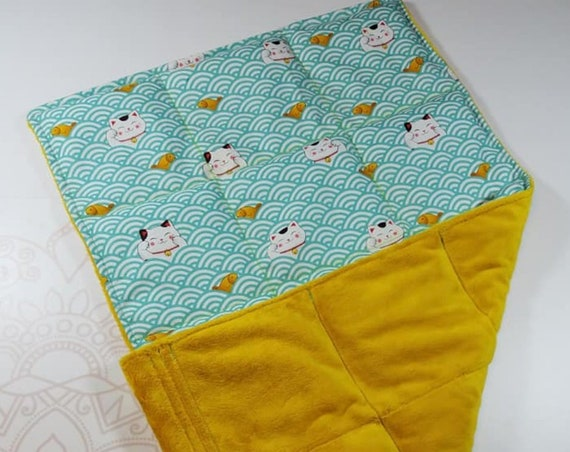 READY TO SHIP, Sushi Cat Front, Gold Smooth Minky Back, Lap Pad/Weighted Blanket, 3 pounds, 14x22, Small Weighted Blanket