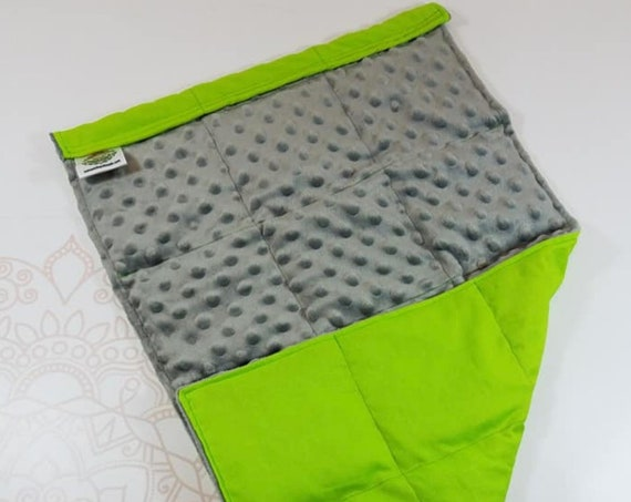 READY TO SHIP, Gray Minky Front, Lime Cotton Back, Lap Pad/Weighted Blanket, 3 pounds, 14x22, Small Weighted Blanket