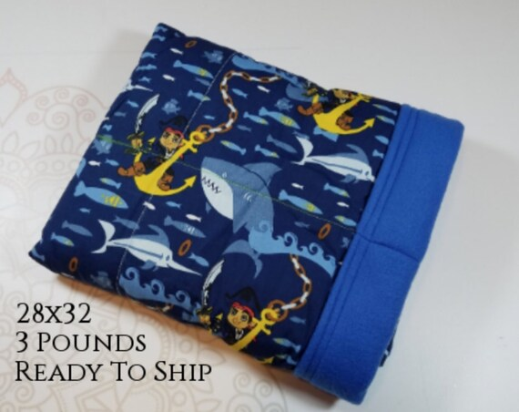 Pirate, 3 pound, WEIGHTED BLANKET, Ready To Ship, 3 pounds, 28x32 for Autism, Sensory, ADHD, Calming, Anxiety,