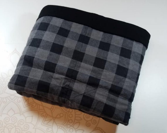 READY to SHIP, 40x50, 8 Pounds, Weighted Blanket, Black Buffalo Check, Black Cotton Flannel Back, Sensory Blanket, Calming Blanket,