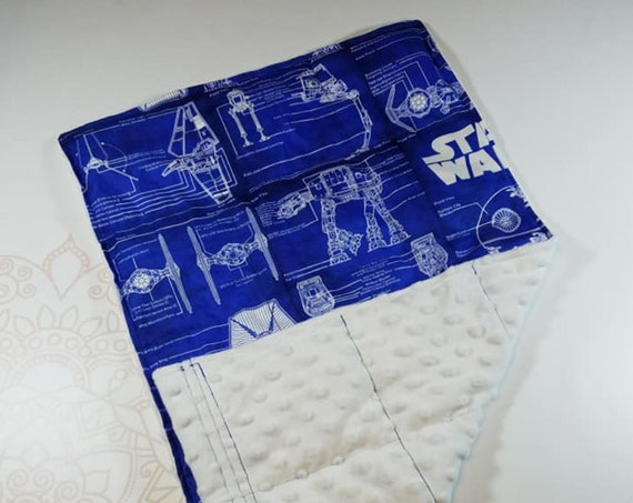 READY TO SHIP, Movie Themed Blueprint Front, White Minky Back, Lap Pad/Weighted Blanket, 3 pounds, 14x22, Small Weighted Blanket