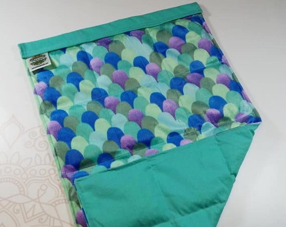 READY TO SHIP, Teal Mermaid Minky Front, Teal Cotton Back, Lap Pad/Weighted Blanket, 3 pounds, 14x22, Small Weighted Blanket