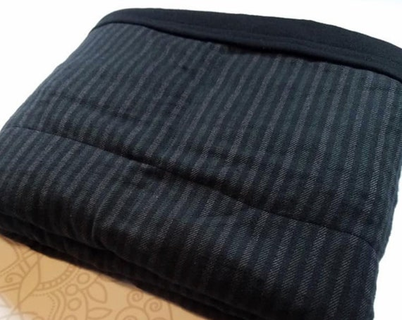 READY to SHIP, 40x50, 10 Pounds, Weighted Blanket, Black Lined Cotton, Black Cotton Flannel back, Sensory Blanket, Calming Blanket,