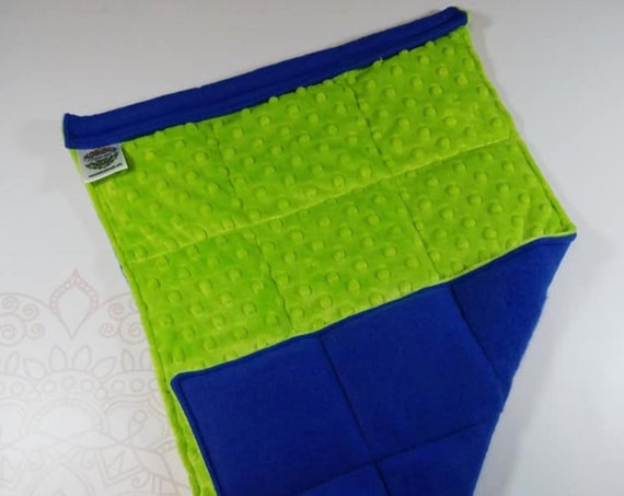 READY TO SHIP, Lime Minky Front, Royal Blue Fleece Back, Lap Pad/Weighted Blanket, 3 pounds, 14x22, Small Weighted Blanket
