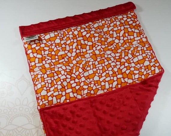 READY TO SHIP, Orange and Red Mosaic Front, Red Minky Back, Lap Pad/Weighted Blanket, 3 pounds, 14x22, Small Weighted Blanket