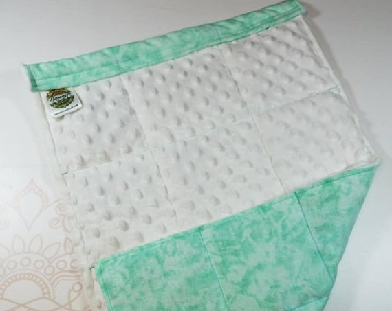 READY TO SHIP, Mint Tie Dye Front, White Minky Back, Lap Pad/Weighted Blanket, 3 pounds, 14x22, Small Weighted Blanket