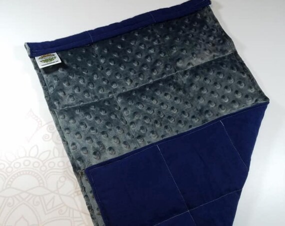 READY TO SHIP, Charcoal Minky Front, Navy Flannel Back, Lap Pad/Weighted Blanket, 3 pounds, 14x22, Small Weighted Blanket
