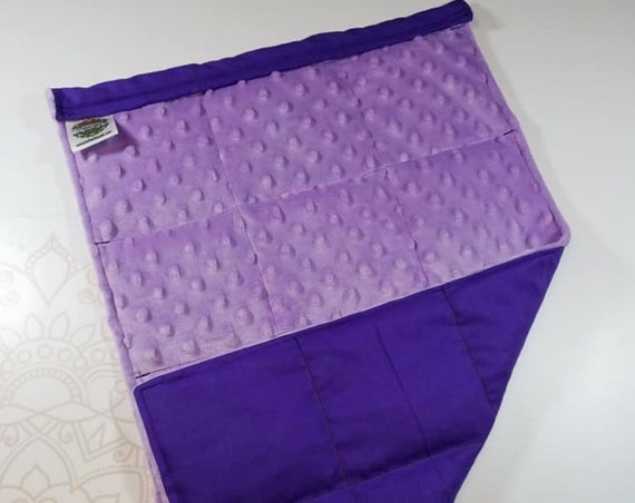 READY TO SHIP, Lilac Minky Front, Royal Purple Woven Cotton Back, Lap Pad/Weighted Blanket, 3 pounds, 14x22, Small Weighted Blanket