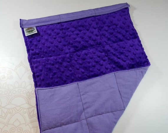 READY TO SHIP, Royal Purple Minky Front, Lilac Cotton Flannel Back, Lap Pad/Weighted Blanket, 3 pounds, 14x22, Small Weighted Blanket