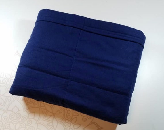 READY to SHIP, 40x50, 8 Pounds, Weighted Blanket, Solid Navy, Cotton Flannel, Sensory Blanket, Calming Blanket,
