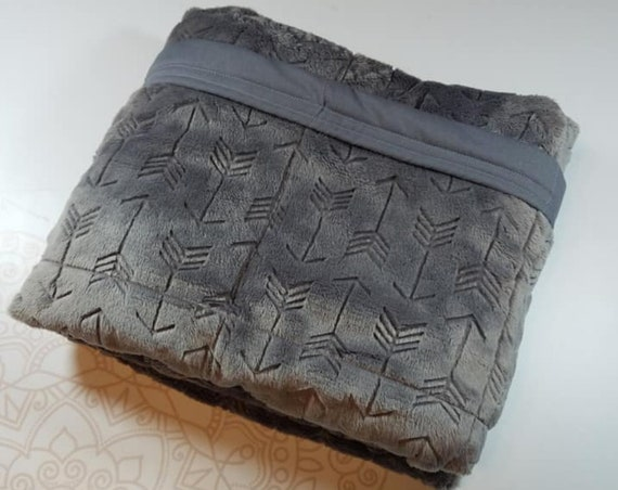 READY to SHIP, 40x50, 10 Pounds, Weighted Blanket, Gray Embossed Arrow Minky Front, Gray Woven Cotton Back,Sensory Blanket, Calming Blanket,