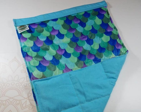 READY TO SHIP, Teal Mermaid Minky Front, Aqua Cotton Flannel Back, Lap Pad/Weighted Blanket, 3 pounds, 14x22, Small Weighted Blanket