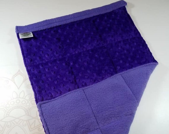 READY TO SHIP, Royal Purple Minky Front, Purple Fleece Back, Lap Pad/Weighted Blanket, 3 pounds, 14x22, Small Weighted Blanket