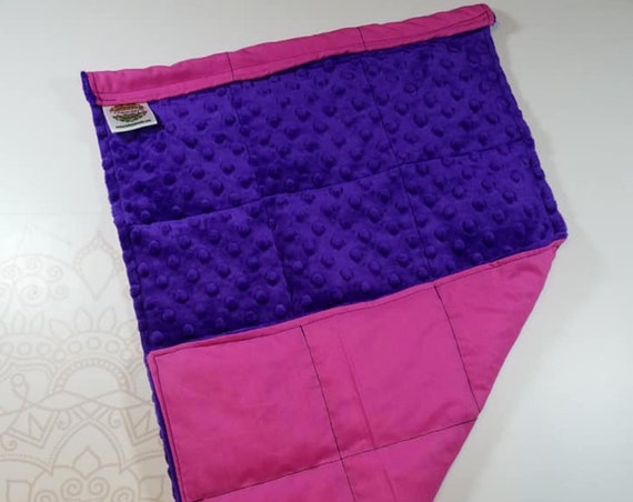 READY TO SHIP, Royal Purple Minky Front, Hot Pink Woven Cotton Back, Lap Pad/Weighted Blanket, 3 pounds, 14x22, Small Weighted Blanket