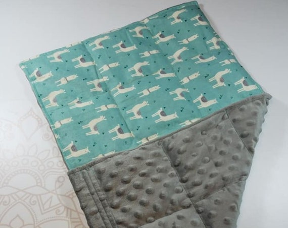 READY TO SHIP, Llama Front, Gray Minky Back, Lap Pad/Weighted Blanket, 3 pounds, 14x22, Small Weighted Blanket