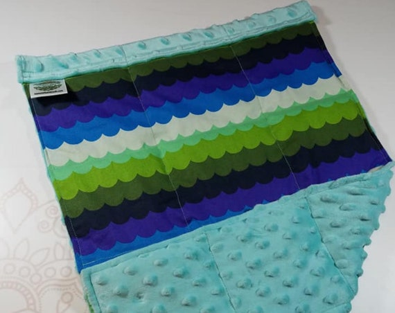 READY TO SHIP, Mermaid Scales Front, Light Teal Minky Back, Lap Pad/Weighted Blanket, 3 pounds, 14x22, Small Weighted Blanket