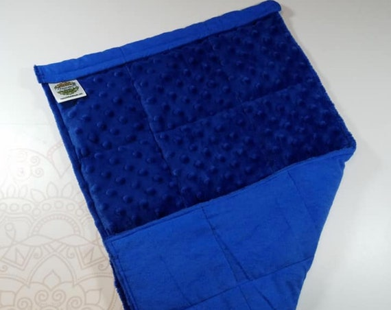 READY TO SHIP, Royal Blue Minky Front, Royal Blue Flannel Back, Lap Pad/Weighted Blanket, 3 pounds, 14x22, Small Weighted Blanket