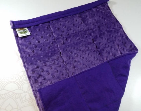 READY TO SHIP, Royal Purple Flannel Front, Royal Purple Minky Back, Lap Pad/Weighted Blanket, 3 pounds, 14x22, Small Weighted Blanket
