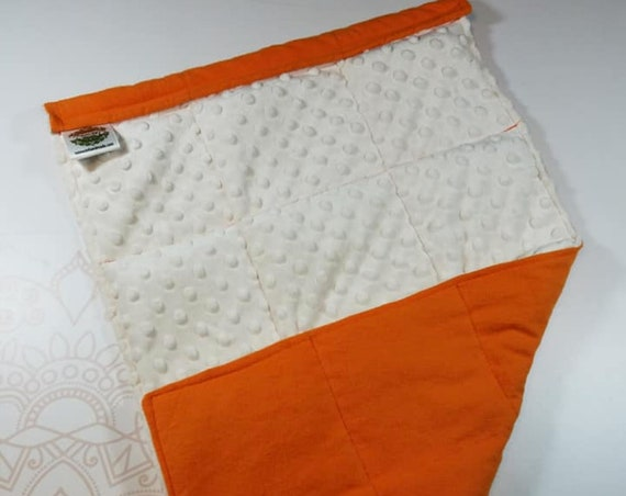READY TO SHIP, Orange Front, Ivory Minky Back, Lap Pad/Weighted Blanket, 3 pounds, 14x22, Small Weighted Blanket