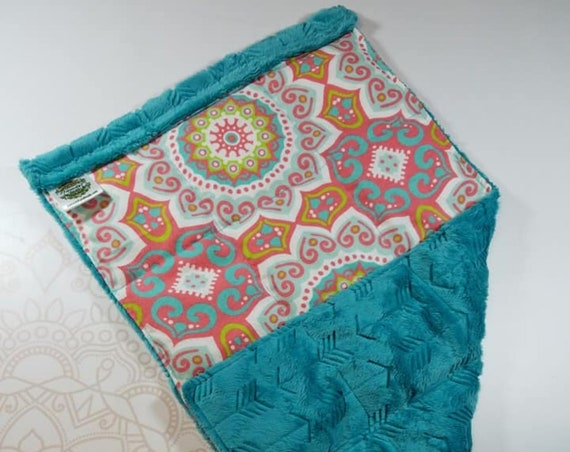 READY TO SHIP, Coral Medallion Front, Teal Arrow Minky Back, Lap Pad/Weighted Blanket, 3 pounds, 14x22, Small Weighted Blanket