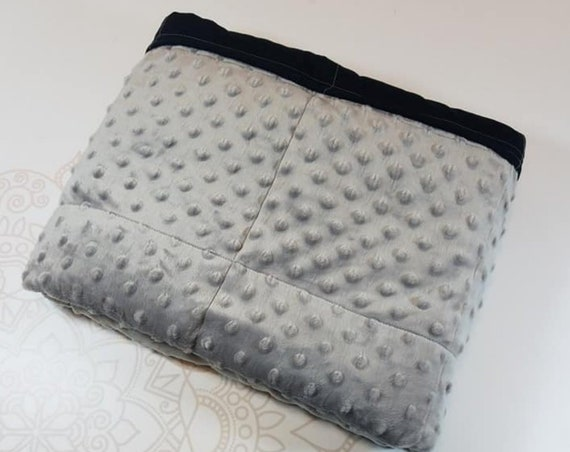 READY to SHIP, Weighted Blanket, 40-42-8 Pounds, Gray Minky, Black Woven Cotton Back, Sensory Blanket, Calming Blanket,