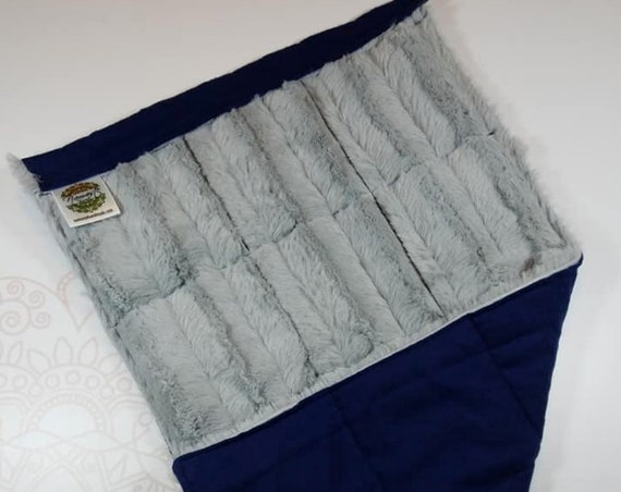 READY TO SHIP, Silver Chinchilla Minky Front, Navy Cotton Flannel Back, Lap Pad/Weighted Blanket, 3 pounds, 14x22, Small Weighted Blanket