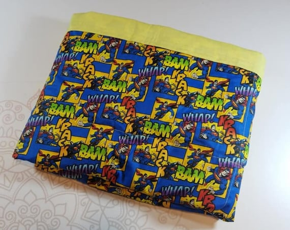 READY TO SHIP, 40x50, 6 pounds, Super Hero Woven Cotton Front, Yellow Back, Weighted Blanket, spd, Autism, Minky weighted blanket