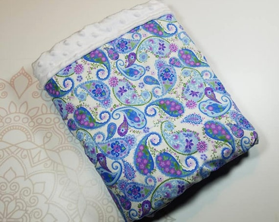 Ready To Ship, 5 Pound, 28x32, Paisley, White Minky, WEIGHTED BLANKET, 28x32, for Autism, Sensory, ADHD, Calming, Anxiety,