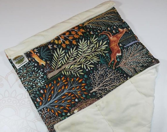 READY TO SHIP, Forest Animal Front, Ivory Minky Back, Lap Pad/Weighted Blanket, 3 pounds, 14x22, Small Weighted Blanket