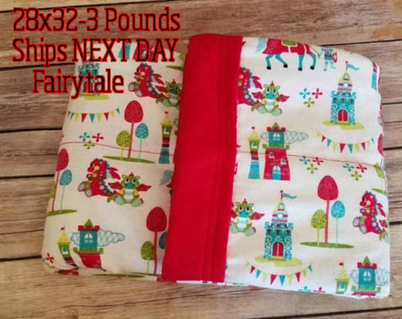 Fairy Tale, Dragon, 3 pound, WEIGHTED BLANKET, Ready To Ship, 3 pounds, 28x32, for Autism, Sensory, ADHD, Calming, Anxiety,