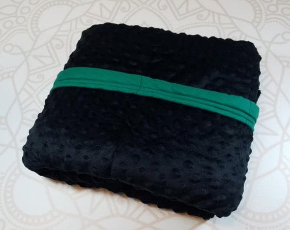READY to SHIP, Weighted Blanket, 40x70-15 Pounds, Black Minky Front, Green Woven Backing, Sensory Blanket, Calming Blanket,