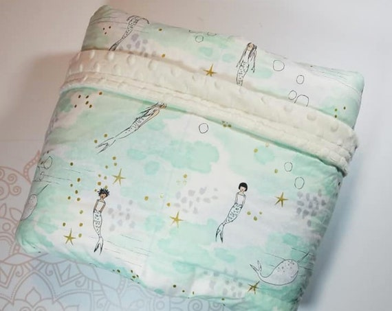 READY to SHIP, Weighted Blanket, 40x80-15 Pounds, Mermaid, Narwhal Front, Ivory Minky Back, Sensory Blanket, Calming Blanket,