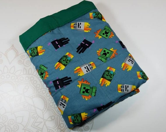 Ready To Ship, 5 Pound, 28x32, Video Game, Green Cotton, WEIGHTED BLANKET, 28x32, for Autism, Sensory, ADHD, Calming, Anxiety,