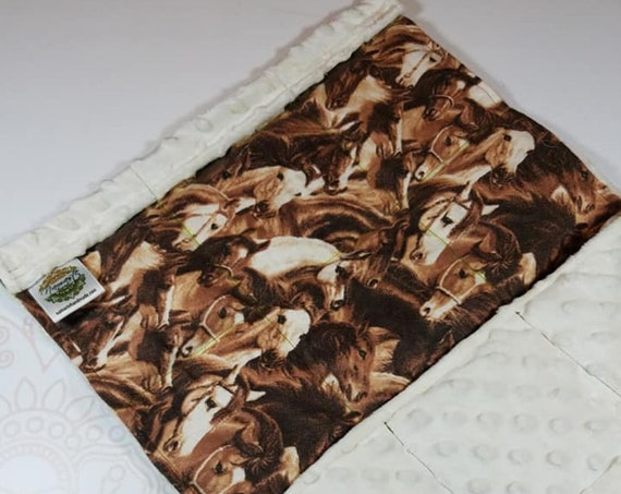 READY TO SHIP, Horses Cotton Flannel Front, Ivory Minky Back, Lap Pad/Weighted Blanket, 3 pounds, 14x22, Small Weighted Blanket