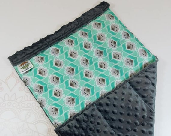 READY TO SHIP, Mint Posie Cotton Front, Charcoal Minky Back, Lap Pad/Weighted Blanket, 3 pounds, 14x22, Small Weighted Blanket