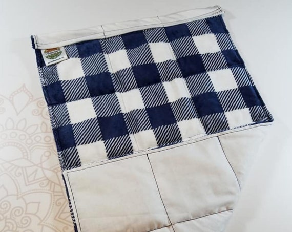 READY TO SHIP, Navy Checked Minky Front, White Cotton Back, Lap Pad/Weighted Blanket, 3 pounds, 14x22, Small Weighted Blanket