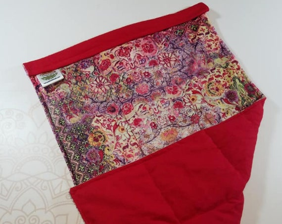 READY TO SHIP, Turkish Minky Front, Red Cotton Flannel Back, Lap Pad/Weighted Blanket, 3 pounds, 14x22, Small Weighted Blanket