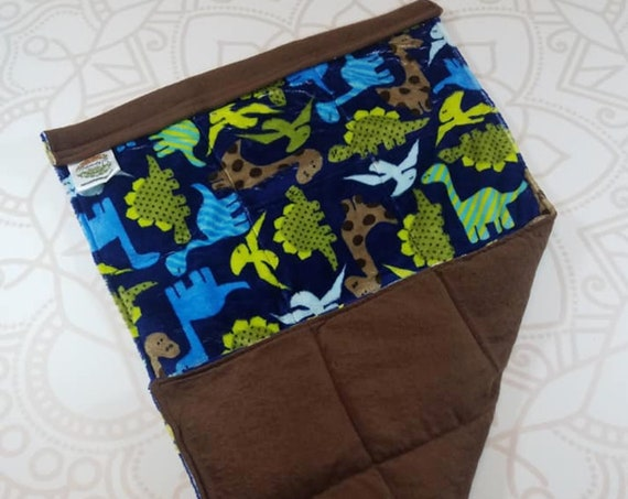 READY TO SHIP, Lap Pad, Navy Dinosaur Minky, Brown Cotton Flannel Back, Lap Pad/Weighted Blanket, 3 pounds, 14x22, Small Weighted Blanket