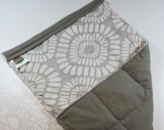READY TO SHIP, Gray White Pink Minky Front, Gray Flanne Back, Lap Pad/Weighted Blanket, 3 pounds, 14x22, Small Weighted Blanket