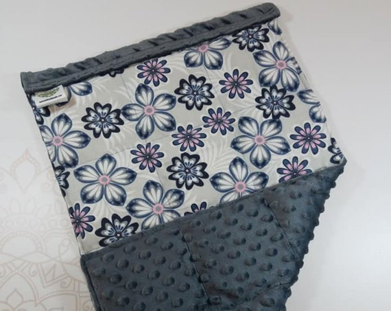 READY TO SHIP, Gray Navy Pink Flowers Front, Charcoal Minky Back, Lap Pad/Weighted Blanket, 3 pounds, 14x22, Small Weighted Blanket