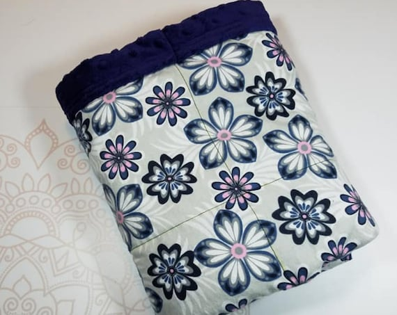 Ready To Ship, 5 Pound, 28x32, Navy Minky, WEIGHTED BLANKET, Ready To Ship, 5 pounds, 28x32 for Autism, Sensory, ADHD, Calming, Anxiety,