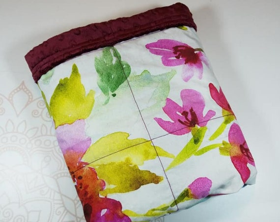 Ready To Ship, 5 Pound, 28x32, Floral, Merlot Minky, WEIGHTED BLANKET, Ready To Ship, 28x32 for Autism, Sensory, ADHD, Calming, Anxiety,