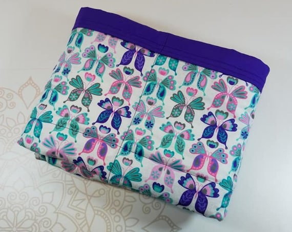 READY to SHIP, Weighted Blanket, 40-42-8 Pounds, Pastel Butterflies, Purple Woven Cotton Back, Sensory Blanket, Calming Blanket,