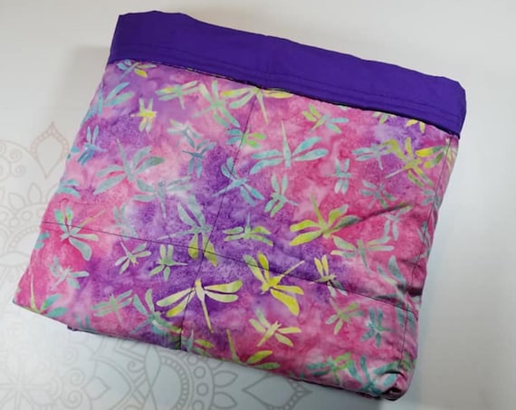 READY TO SHIP, 34x40, 12 pounds, Drogonfly, Purple Cotton Back, Weighted Blanket, Adult Weighted Blanket, spd, Autism