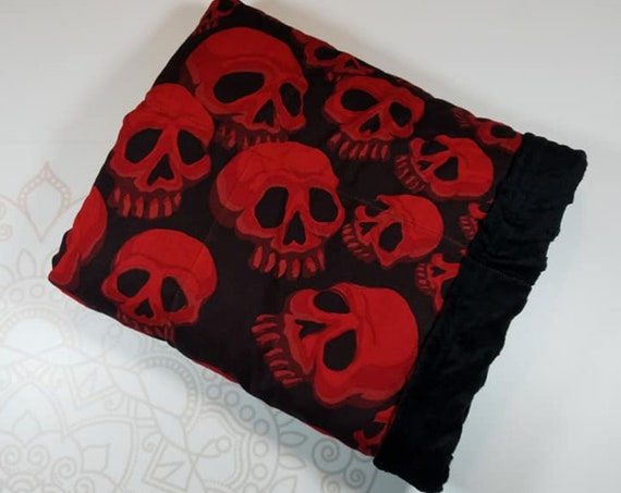 Ready To Ship, 5 Pound, 28x32, Red Skulls, Black Minky, WEIGHTED BLANKET, Ready To Ship, 28x32, for Autism, Sensory, ADHD, Calming, Anxiety,