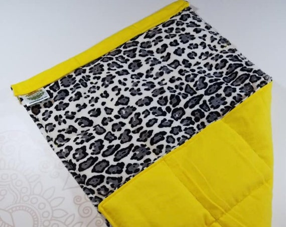 READY TO SHIP, Leopard Minky Front, Yellow Flannel Back, Lap Pad/Weighted Blanket, 3 pounds, 14x22, Small Weighted Blanket