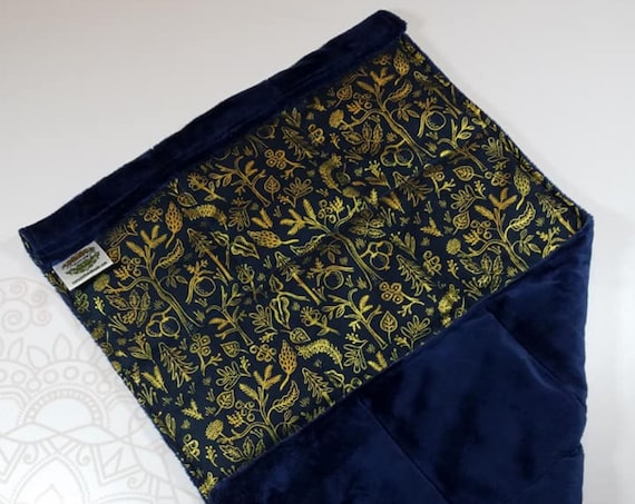 READY TO SHIP, Metallic Gold Forrest Front, Navy Smooth Minky Back, Lap Pad/Weighted Blanket, 3 pounds, 14x22, Small Weighted Blanket